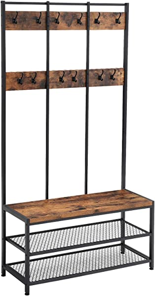 VASAGLE Industrial Coat Rack Shoe Bench Hall Tree Entryway Storage Shelf Large Size Wood Look Accent Furniture With Metal Frame Easy Assembly UHSR86BX