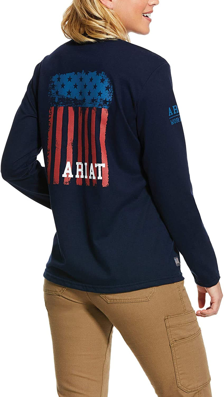 ARIAT Women's Navy America Graphic 10030319 - 販売期間 登場大人気アイテム 限定のお得なタイムセール T-Shirt Fr