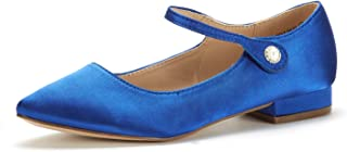 DREAM PAIRS Women's Low Stacked Ankle Strap Flats Shoes