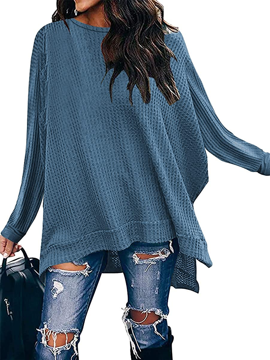 ANRABESS Women Crew Neck Batwing Sleeve High Low Hem Side Slit Waffle Knit Casual Loose Oversized Pullover Sweater Tunic Top