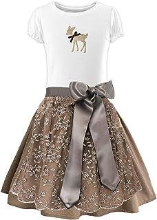 Märchenwerkstatt Kinder Dirndl Prinzessin rosa Rock, Trachten Shirt und Spitzenschürze