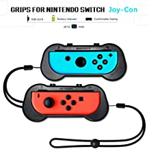 Joy-Con Grips for Nintendo Switch Controllers, Wear-resistant Controller Grips/ Joy-Con Handle Kit/ Thumb Grips ( L& R ) for Nintendo Switch, Game Accessories ( Black, 2Pack)