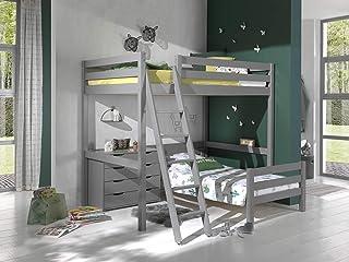 Vipack Lit mezzanine d'angle avec 2 surfaces de couchage 140 x 200 cm et tiroirs de rangement Gris laqué