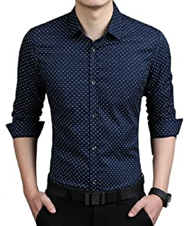 TOM T Men's Cotton Dot Print Casual Shirt