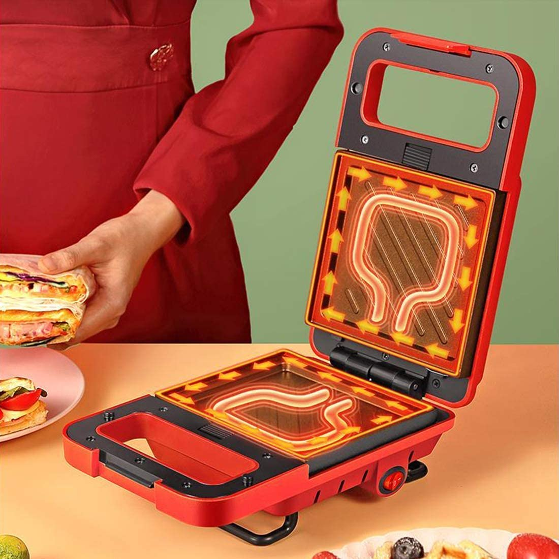 3 in 1, Press Grill, Donut Donut Maker Iron Machine, Deep Anti-aanbaklaag platen, 600W, Automatic Temperature Control, Green (Kleur: Rood) QIANGQIANG (Color : Red) Green