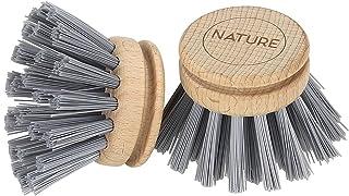 Set de Brosses de Nettoyage Poils Naturels avec 3 T/êtes de Rechange pour Cuisine et Salle de bain COCOCITY Lot de 4 Brosses /à Vaisselle en Bois