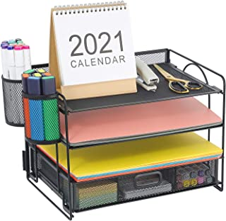 Marbrasse 4-Trays Desktop File Organizer with Pen Holder | Paper Letter Tray with Drawer and 2 Pen Holder | Mesh Office Su...