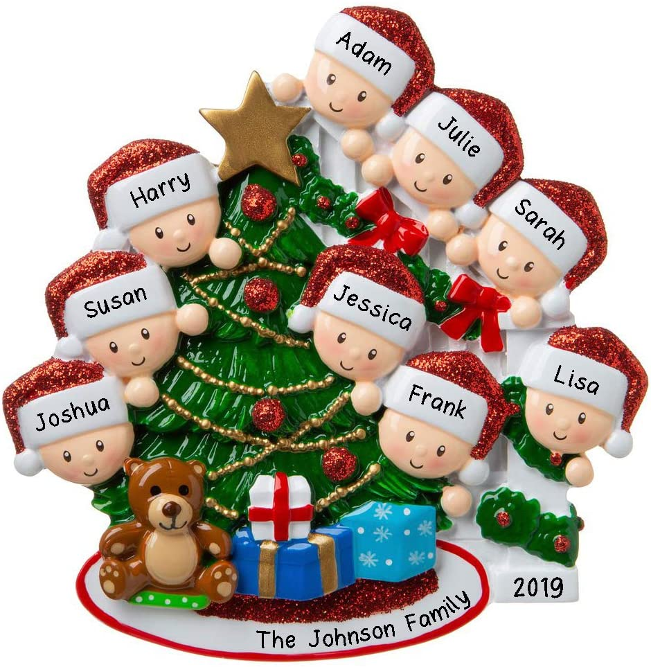 HOBBY HOME ACCESSORIES Personalized Happy Family Bannister Peeking Family Christmas Tree Ornament Present Gift Christmas Morning-Free Personalized (Family of 9)