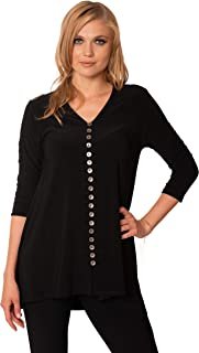 VECCELI Italy Women's Milano Fully Fashion Button Down Tunic Top