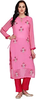 Pret A Porter Pink Colored Georgette Designer Kurti With Pants (Stitched)