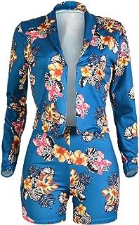Tracksuit Women Long Sleeve Tropical Blazer Jacket Coat + Shorts 2 Piece Set Suit African Dashiki Slim Fit