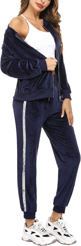 Jersey de Manga Larga de Terciopelo y Pantalones de ch/ándal de Rayas largas Conjunto Deportivo Sykooria Conjunto de ch/ándal de Terciopelo para Mujer Sudadera con Cremallera y Cuello Redondo