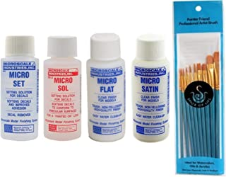 Microscale Industries, Inc. Micro Set, Micro Sol, Micro Flat, Micro Satin, 1 oz. Bottles, One of Each with Spice of Life P...