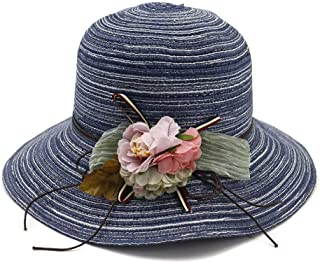 Sun Hat for men and women Fashion Summer Foldable Portable Breathable Beach Knit Sun Hat Wide Side Openwork Floral Adjustable Ribbon