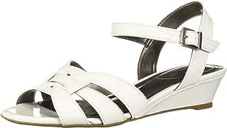 LifeStride Women's Yvette Wedge Sandal, White, 8.5 W US