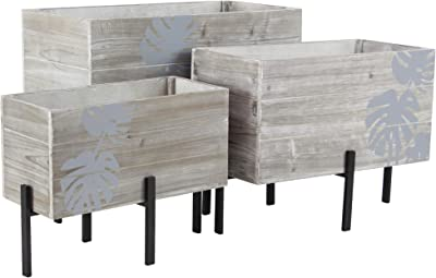 """Deco 79 43690 Rustic Wood and Metal Planters with Stands, 12"""" W x 19"""" H, Gray, Black, Brown"""