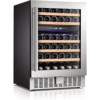 "Antarctic Star 24"" Wine Cooler Beverage Refrigerator Beer Mini Fridge 46 Bottles Dual Zone Built-in Freestanding Stainless Steel Double-Layer Tempered Digital Temperature Memory Function Glass Door"