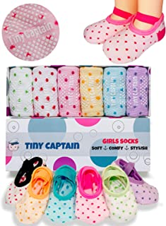 Tiny Captain Baby Toddler Girls Boys Grip Socks 0-12, 1-3, 3-5 & 4-7 Year Old Anti Slip w/Strap Infant 0-5 Yr Old Gift 4 Sizes
