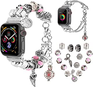 Compatible for Apple Watch Band 38mm 40mm 42mm 44mm, KoudHug 2 in 1 DIY Charms Bands Women Jewelry Beaded Bracelet Compatible for iWatch Series 5 4 3 2 1 (Silver, 42mm/44mm)