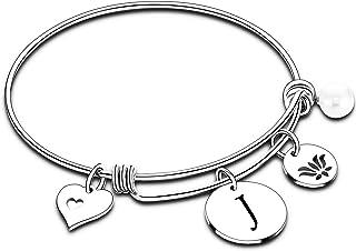 Letter Bracelet Initial Bracelet Heart Flower Charm Bracelets 26 Letters Bangle Bracelet for Women Girls Personalized Jewelry
