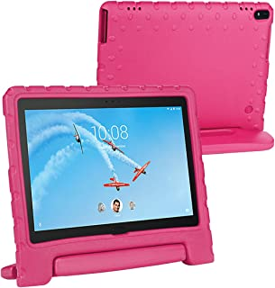 i-original Compatible with Lenovo Tab 4 10/10 Plus Shock Proof EVA Case for Kids Bumper Cover Handle Stand, EVA Convertible Handle Light Weight EVA Protective Stand Bumper Cover, Rose