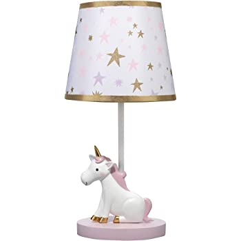 Bedtime Originals Rainbow Unicorn Lamp with Shade & Bulb, White