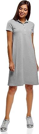 oodji Collection Femme Robe Polo en Tissu Piqué