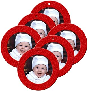Mini Magnetic Glitter Christmas Photo Frame Ornaments for Holiday Picture Frame Gifts and Tree Decoration - 6-Pack, Round - Red