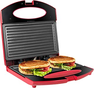 OZAVO Sandwichera Grill,Parrilla Eléctrica,Placas de Grill Electricas Antiadherentes 750W con Capacidad para 2 Sándwiches ...