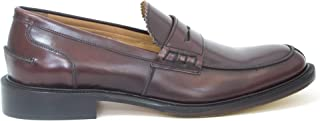 College Large Numbers Loafers in Burgundy Abrasive Leather, Without Laces, Craftsmanship, Made in Italy