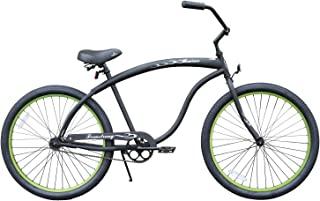 Firmstrong Bruiser Man Seven Speed Beach Cruiser Bicycle, 26-Inch, Black/Red Rims