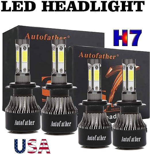 For Mercedes Benz ML350-4pc H7 H7 LED Headlight Hi//Lo Beam Bulbs 6000K White