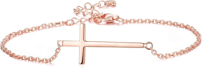 Sllaiss 925 Sterling Silver Religious Sideways Cross Bracelet fo
