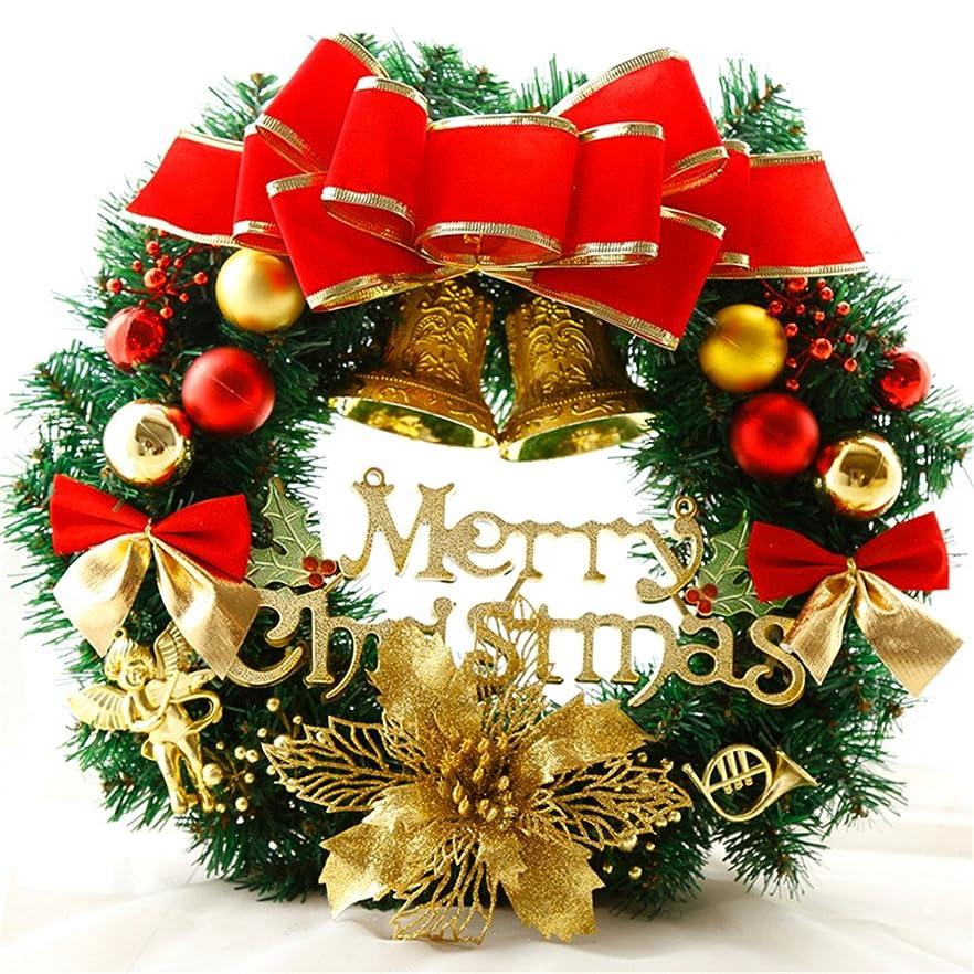 喉頭リンス欠乏AIHOME クリスマスオーナメント クリスマス 飾り クリスマスリース 玄関 ドア 窓 インテリアの飾り 華やか おしゃれ 可愛い (レッド ゴールド)