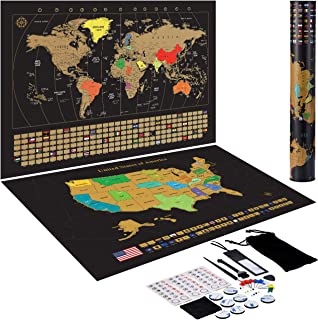 TOPELEK Scratch Off Map of The World + Premium Scratch Off USA Map Accessories and Gift Packaging,Vivid Colors,Large Scratchable Travel Maps Poster with Full Scratch Tools, Deluxe Gift for Travelers