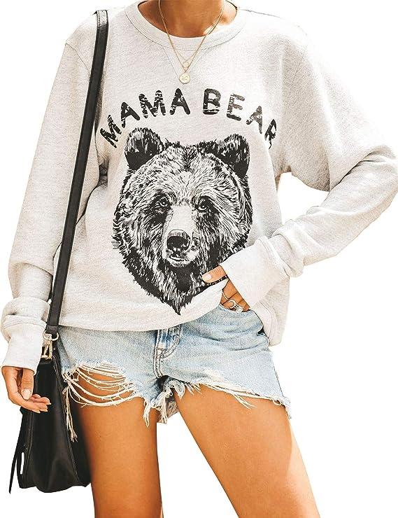 Blooming Jelly Women's Cute Long Sleeve Top Loose Mama Bear Crewneck Pullover Sweatshirt
