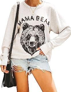 Blooming Jelly Women's Mama Bear Crew Neck Jumper Oversized Long Sleeve T-Shirt Pullover Cute Top Letter Print Sweatshirt