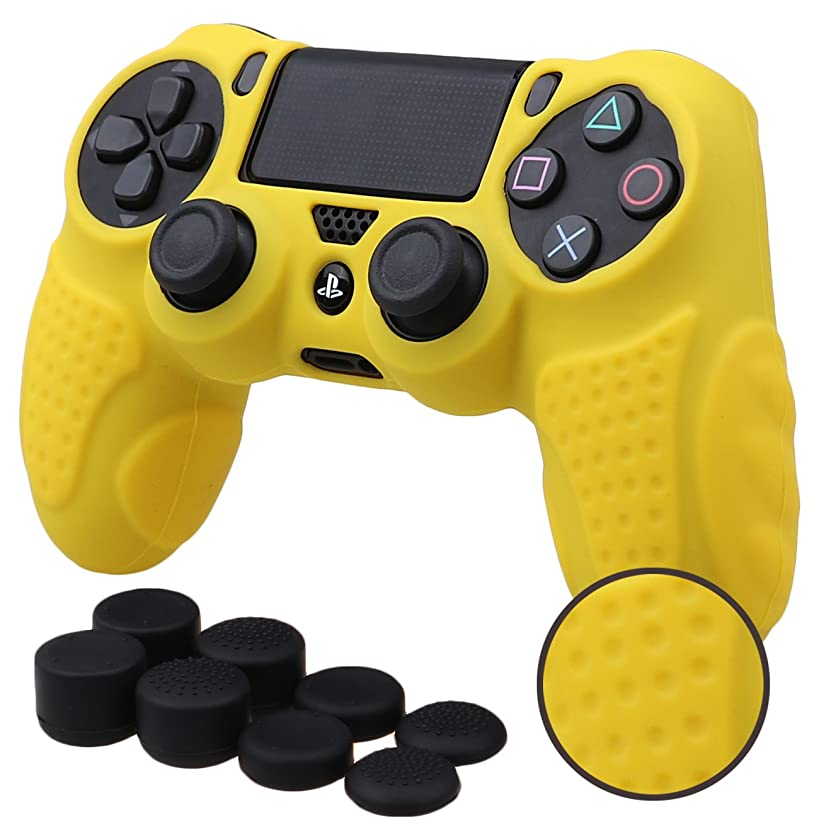 MXRC Silicone GRIP cover skin case anti-slip for PS4/SLIM/PRO controller x 1(yellow) + FPS PRO extra height thumb grips x 8