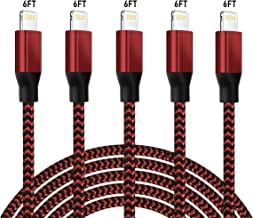 5 Pack iPhone Charger,6FT MFi Certified Lightning Cable, Charging Cable USB Syncing Data and...