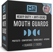 M3 Naturals Heavy Duty Mouth Guards for Teeth Grinding Night Clenching Moldable Trimmable Bruxism Anti Grind Dental Sport Bite Mouthguard Sleep Nightguard Retainer Case 2-Size 4 Pieces