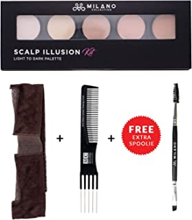 Milano Collection Scalp Illusion Kit- Lace WiGrip, Wig Makeup Knot Concealer Palette Plus Free Angled Brush and Teasing Comb (Chocolate Brown)