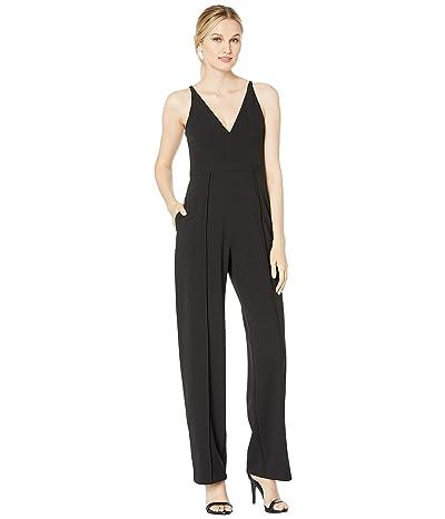 Donna Morgan Sleeveless V-Neck Crepe Jumpsuit (Black) Women