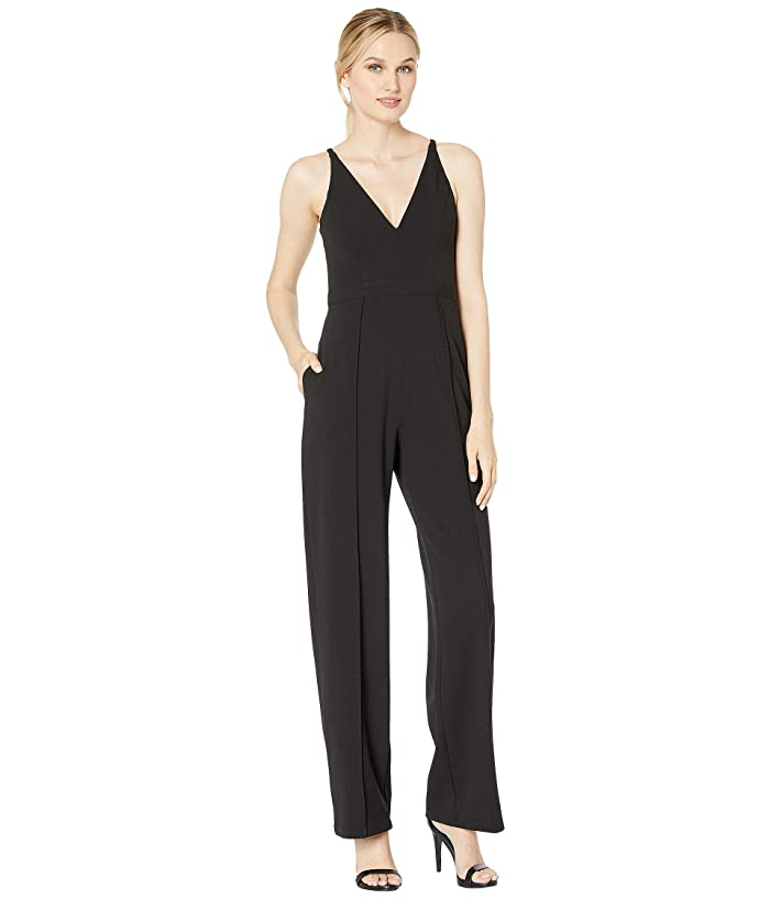 Donna Morgan  Sleeveless V-Neck Crepe Jumpsuit (Black) Womens Jumpsuit and Rompers One Piece