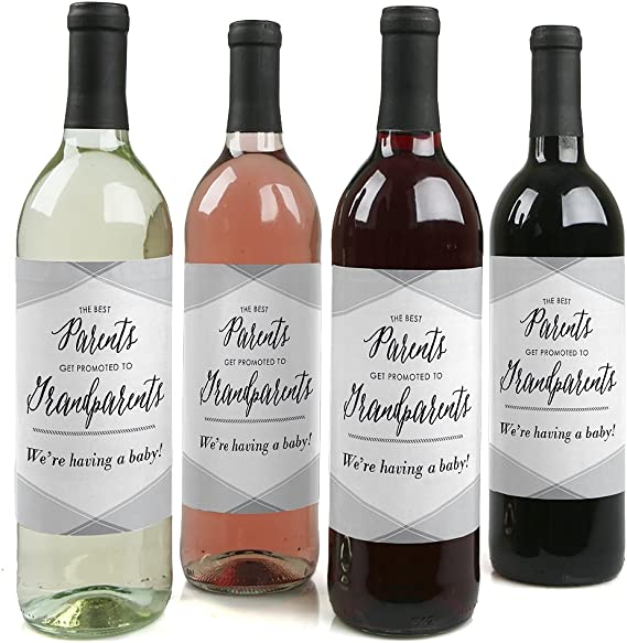 Parents to Grandparents - Pregnancy Announcement Gift for Women and Men - Wine Bottle Label Stickers - Set of 4