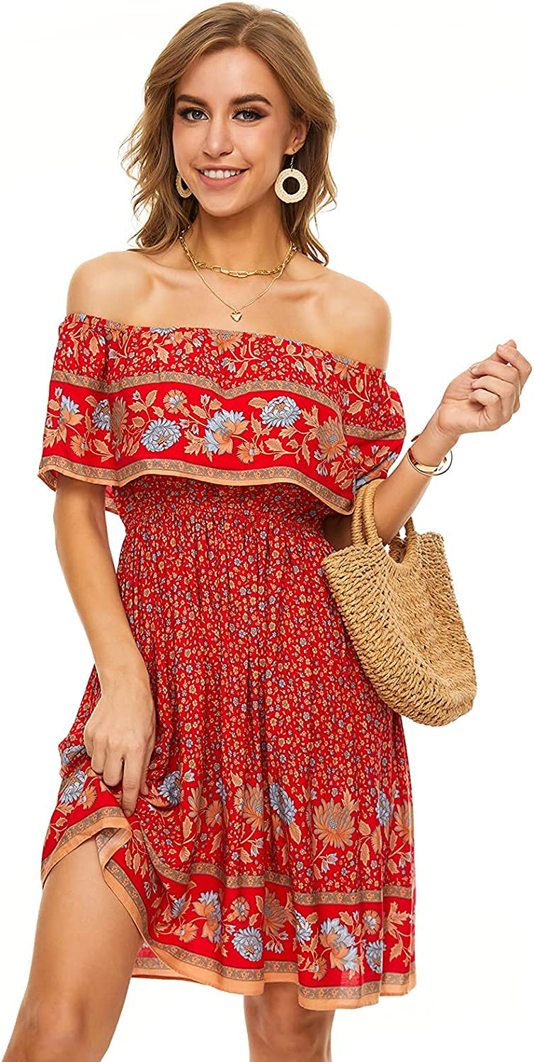 FFever Off Shoulder Dress for Women - Ruffle Summer Print Floral SEAL limited product Austin Mall