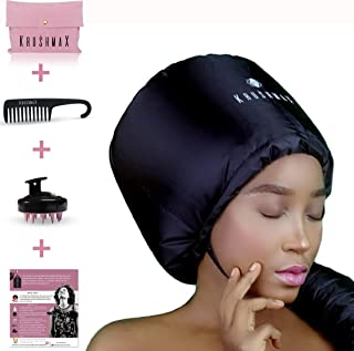 Hair Dryer Bonnet Attachment, Hooded Hairdryer for Home with Scalp Massager Shower Comb Portable Waterproof Pouch and 2019 Upgraded Strap Adjuster-Use for Hair Deep Conditioning, Styling and Drying