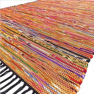 Eyes of India - 3 X 5 ft Orange Colorful Woven Chindi Rag Rug Bohemian Indian Boho Decorative