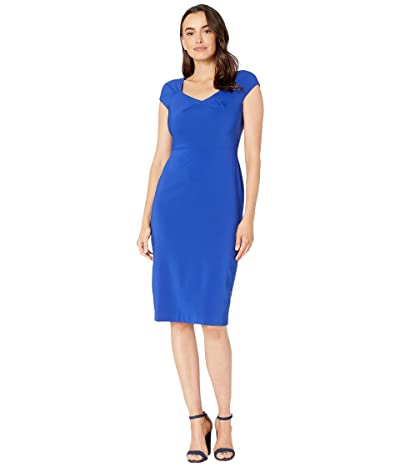 Maggy London Dream Crepe Sheath with Folded Neck Detail Dress (Empire Blue) Women