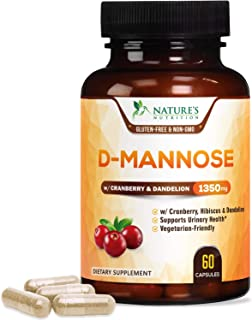 D-Mannose Capsules with Cranberry Extra Strength Support 1350mg - Natural Urinary Health Support - Made in USA - Vegan Fas...