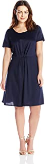 Star Vixen Women's Plus-Size Short Sleeve Starburst-Cinch Pleat Ponte Skater Dress